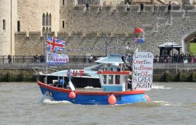 "A boat forming part of a pro-Brexit ""flotilla"" makes its way along the River Thames in London on 15 June. John Stillwell/Press Association. All rights reserved."